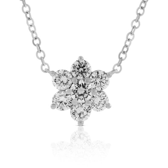 Flower Shape Diamond Pendant 14K