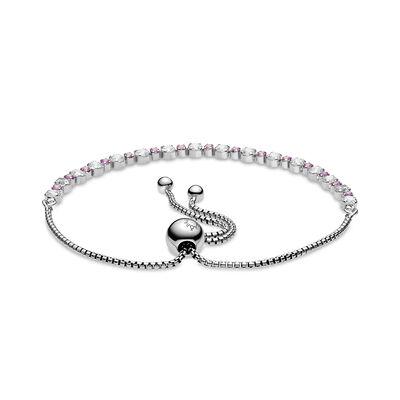 Pandora Pink Sapphire & Clear CZ Sparkle Slider Bracelet