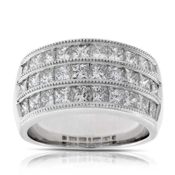 Three Row Princess Cut Diamond Ring 14K