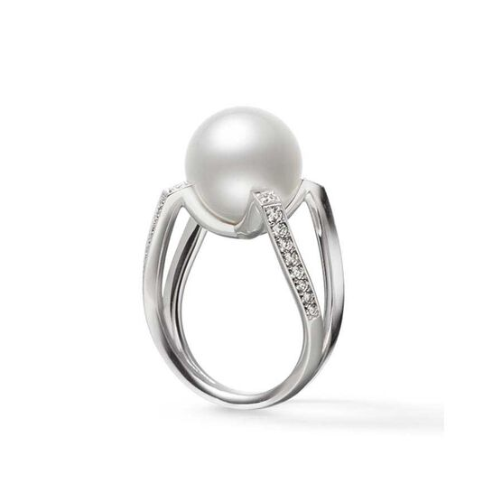 Mikimoto M Collection White South Sea Cultured Pearl & Diamond Ring 18K