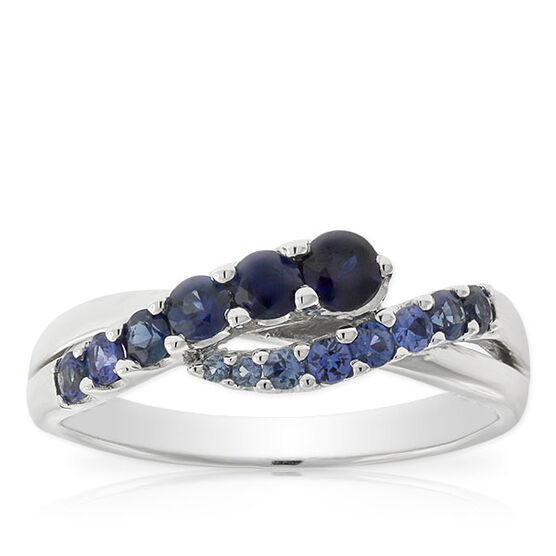 Sapphire Wave Ring 14K