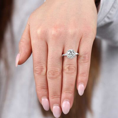 Halo Designed Diamond Engagement Ring 18K, 2.09 Center