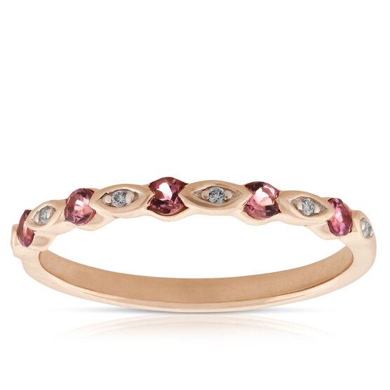 Rose Gold Pink Tourmaline & Diamond Band 14K
