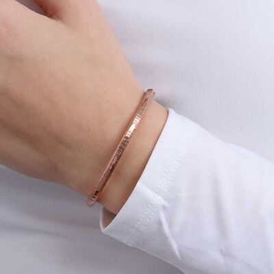 Rose Gold Toscano Roman Hammered Bangle 14K