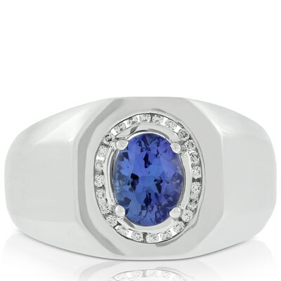 Men's Tanzanite & Diamond Ring 14K