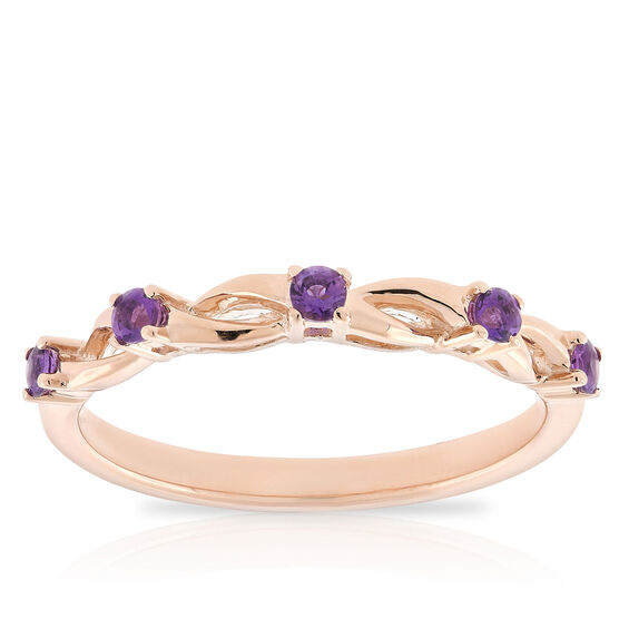 Rose Gold Amethyst Open Twist Band 14K