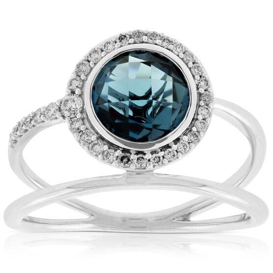Blue Topaz & Diamond Ring 14K