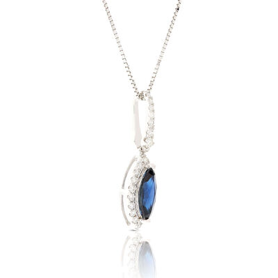 Marquise Sapphire & Diamond Halo Necklace 14K