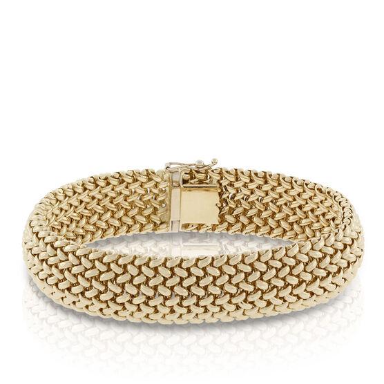 Toscano Large Weave Domed Bracelet 18K