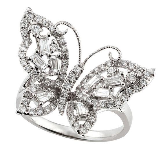 Diamond Butterfly Ring 14K