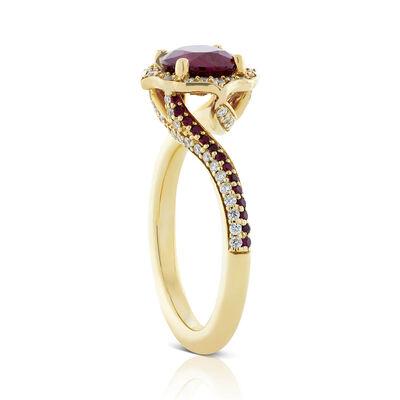 Oval Ruby & Diamond Swirl Ring 14K
