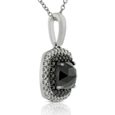 Rose Cut Black Diamond Pendant 14K