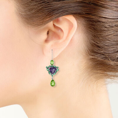 Lisa Bridge Amethyst, Emerald & Peridot Earrings