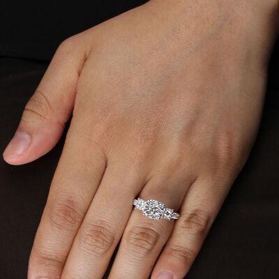Love Eternal Diamond Cluster 3-Stone Engagement Ring 14K