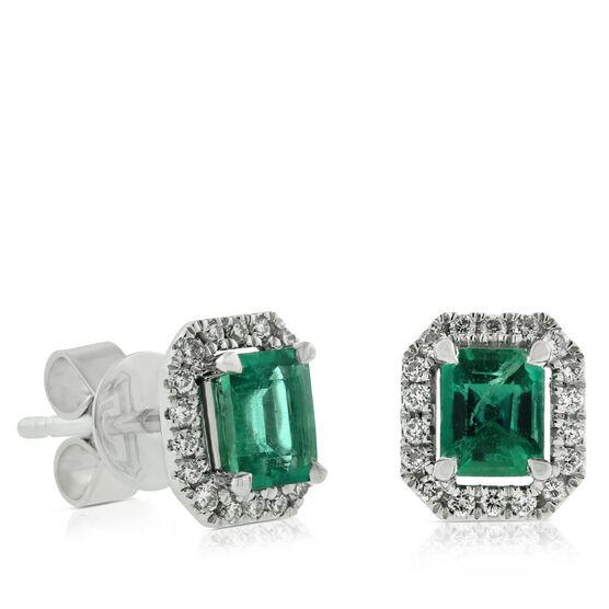 Octagon Emerald & Diamond Earrings 14K