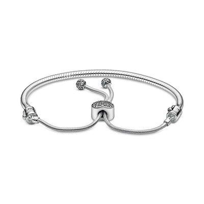 Pandora Moments Pavé CZ Heart Clasp Snake Chain Slider Bracelet