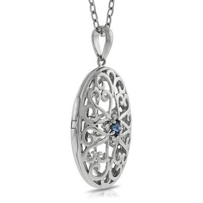 Sapphire & Diamond Locket 14K