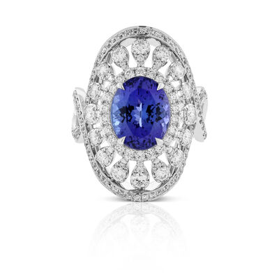 Oval Tanzanite & Diamond Shield Ring 18K