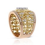 Round Center Diamond Cluster Filigree Ring 14K