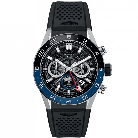 TAG Heuer Carrera Heuer 02 Automatic GMT Mens Black Rubber Chronograph Watch