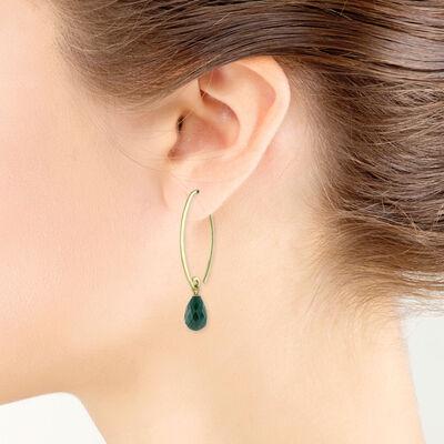 Briolette Emerald Earrings 14K