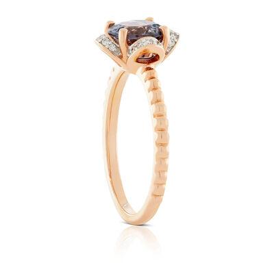 Rose Gold Gray Spinel & Diamond Flower Ring 14K