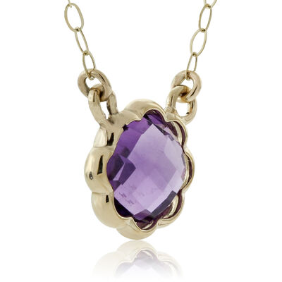 Scalloped Bezel Amethyst Necklace 14K