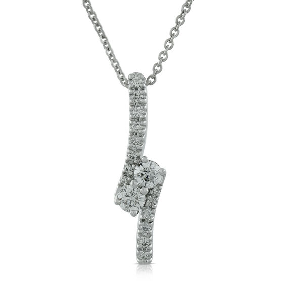 Perfectly Paired 2-Stone Diamond Pendant 14K