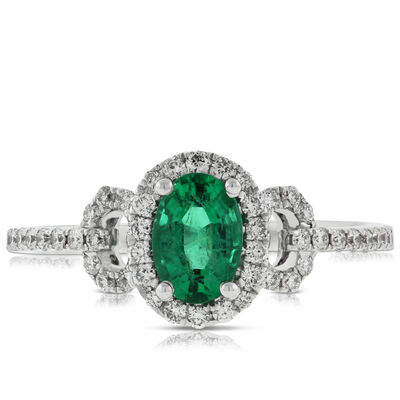 Oval Emerald & Diamond Ring 14K