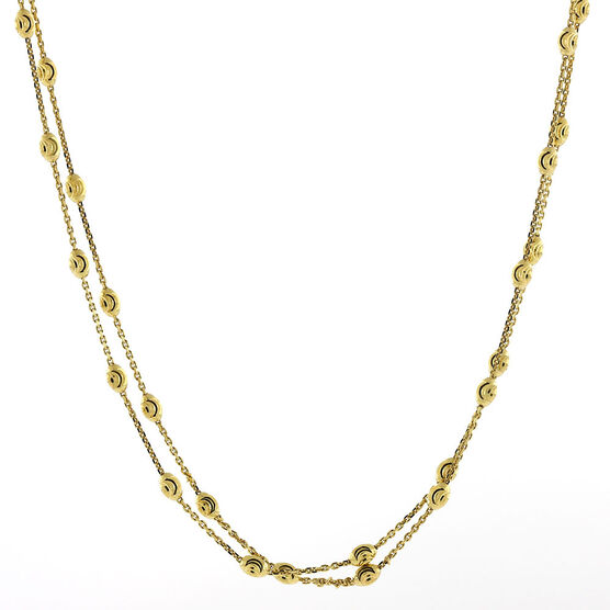 Moon Cut Oval Bead Station Necklace 14K, 34""