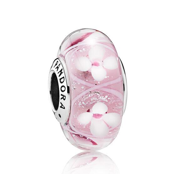 PANDORA Pink Field of Flowers Murano Glass Charm