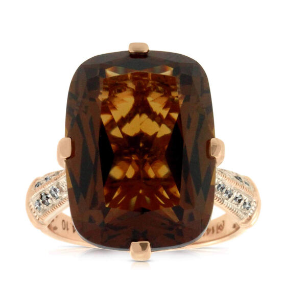 Rose Gold Honey Citrine & Diamond Ring 14K