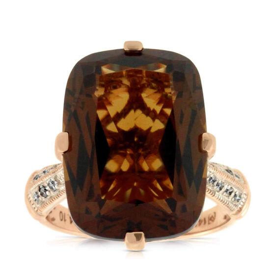 Rose Gold Honey Citrine & Diamond Ring 14K