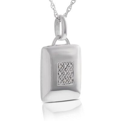 Pavé Diamond Square Pendant in Sterling Silver