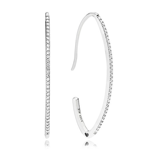 Pandora Oval Sparkle CZ Hoop Earrings