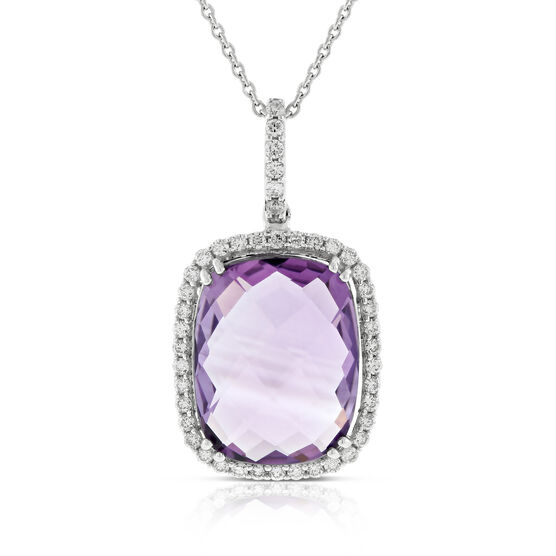 Cushion Amethyst & Diamond Pendant 14K