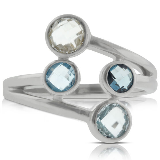Graduated Color Blue & White Topaz Ring 14K