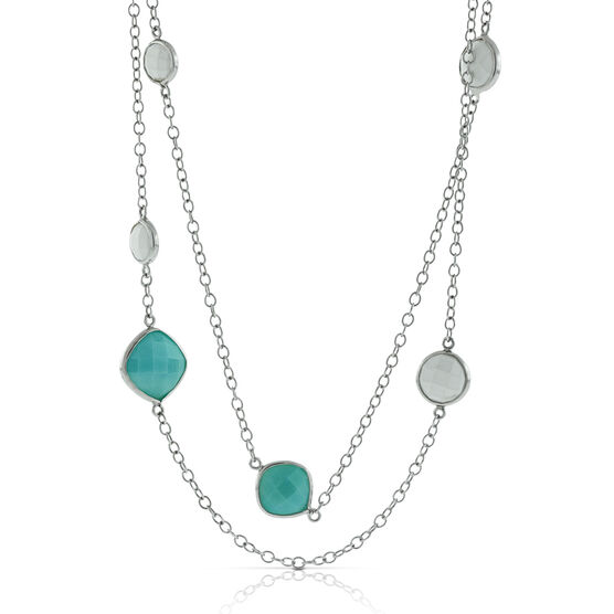 Lisa Bridge Amazonite & White Agate Necklace, 35""