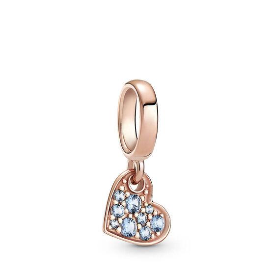 Pandora Rose™ Light Blue Pavé Crystal Tilted Heart Dangle Charm
