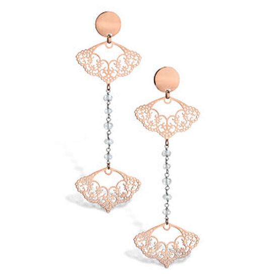 Rose Gold Filigree Dangle Earrings 14K