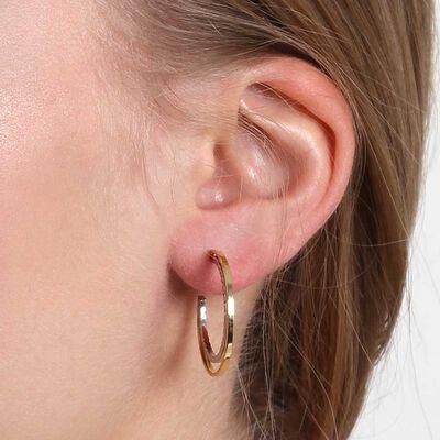 Two-Tone Double Hoop Earrings 14K