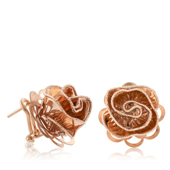 Rose Gold Toscano Floral Ruffle Earrings 18K