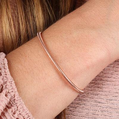 Rose Gold Tubogas Cuff Bracelet, 14K & Steel