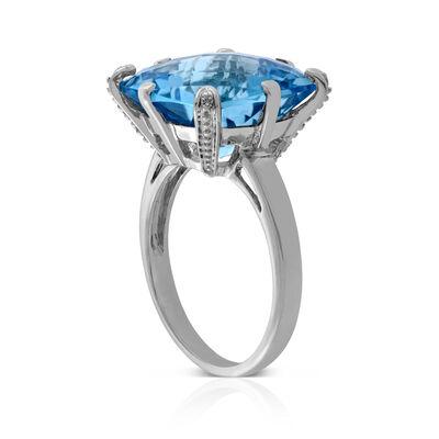 Checkerboard Blue Topaz & Diamond Ring 14K