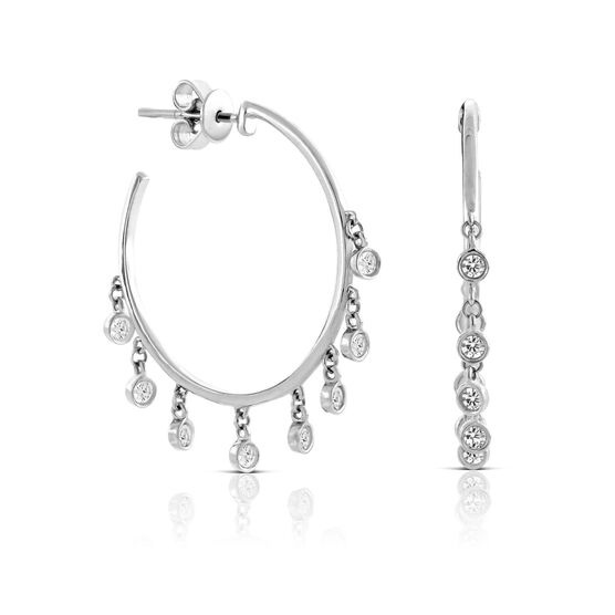 Diamond Dangle Hoop Earrings 14K