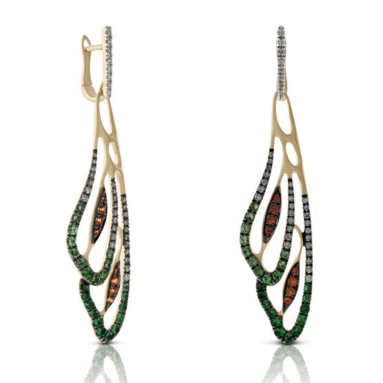 Orange Sapphire, Tsavorite & Diamond Wing Earrings 14K