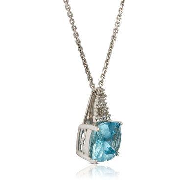 Cushion Aquamarine & Diamond Pyramid Necklace 14K
