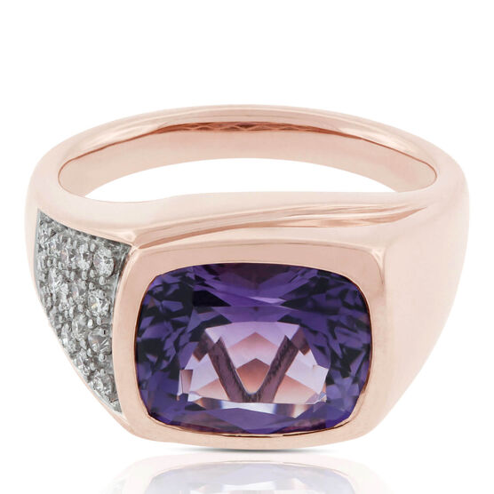 Rose Gold Cushion Amethyst & Diamond Ring 14K