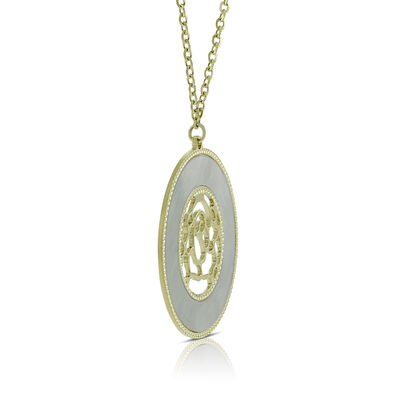 Toscano Mother of Pearl Rose Necklace 14K