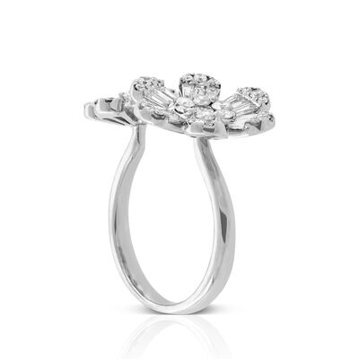 Double Flower Diamond Ring 14K